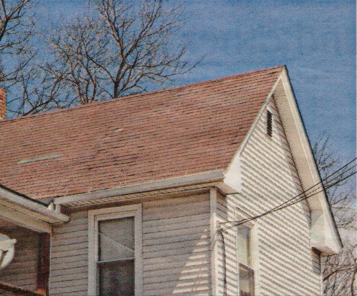 An older roof showing signs of age